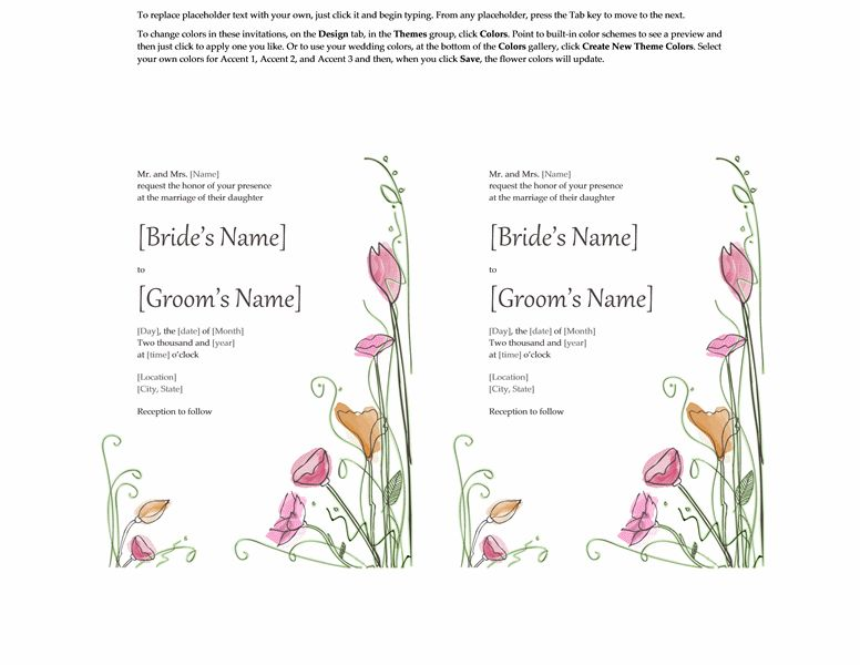 Wedding invitations (Watercolor design, 2 per page, works with ...