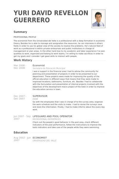 Economist Resume samples - VisualCV resume samples database