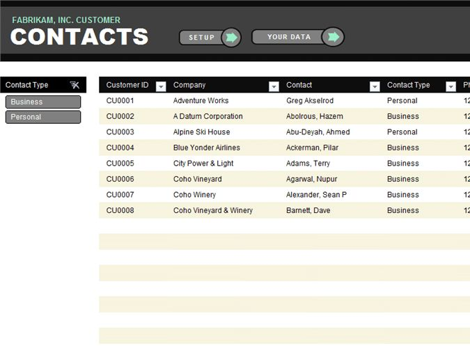 Customer contact list - Office Templates
