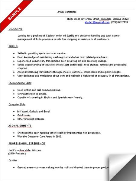 Sample Resume For Cashier Position - Gallery Creawizard.com