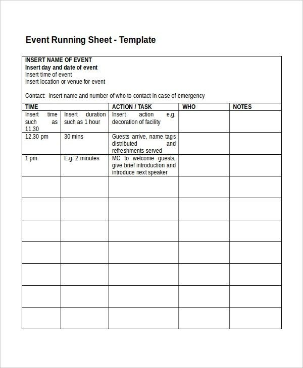 Run Sheet Template - 6+ Free Word, Excel, PDF Document Download ...