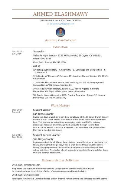 Student Worker Resume samples - VisualCV resume samples database