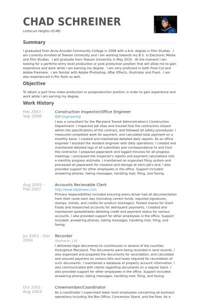 Inspector Resume samples - VisualCV resume samples database