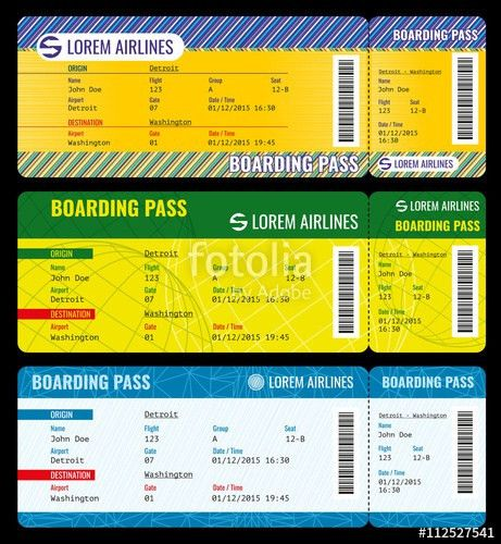 Airline boarding pass modern tickets vector mockup. Ticket ...