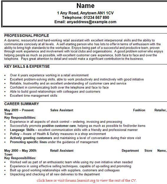 Sales Assistant CV Example - forums.learnist.org