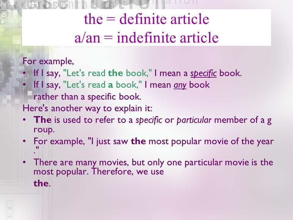 Definite and indefinite - ppt video online download