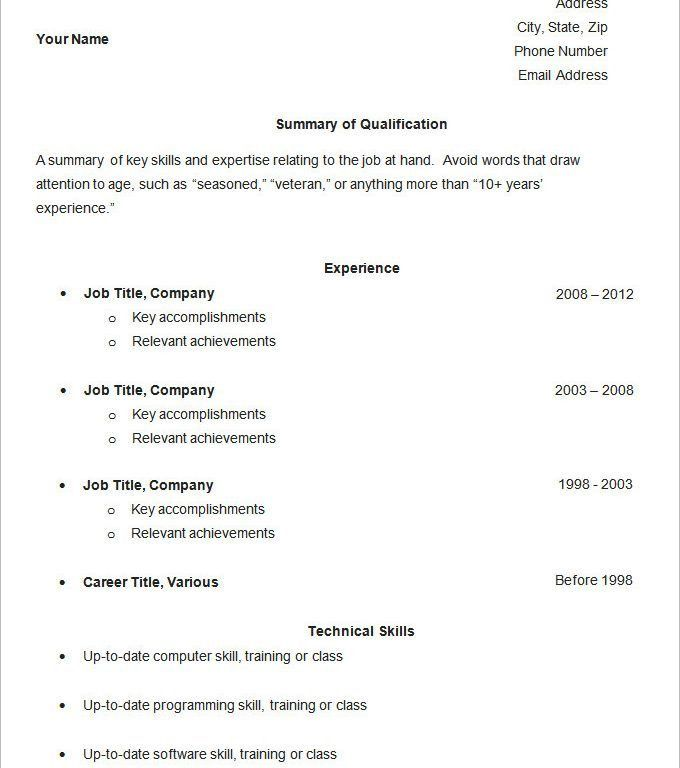 Examples Of Simple Resume. Free Resume Templates Primer Free ...