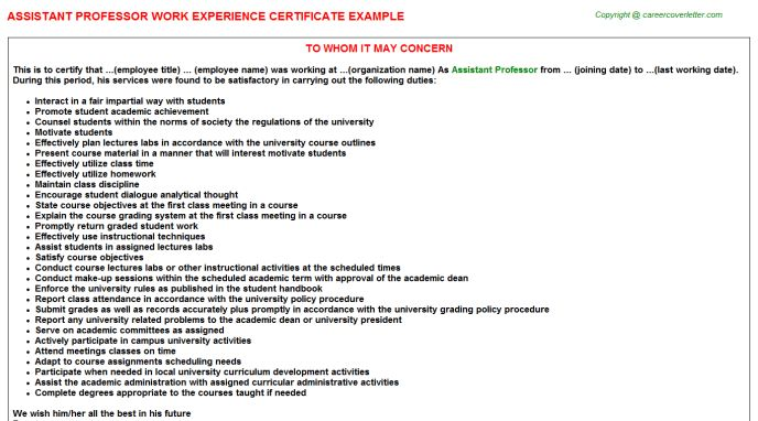 Assistant Professor Work Experience Certificate