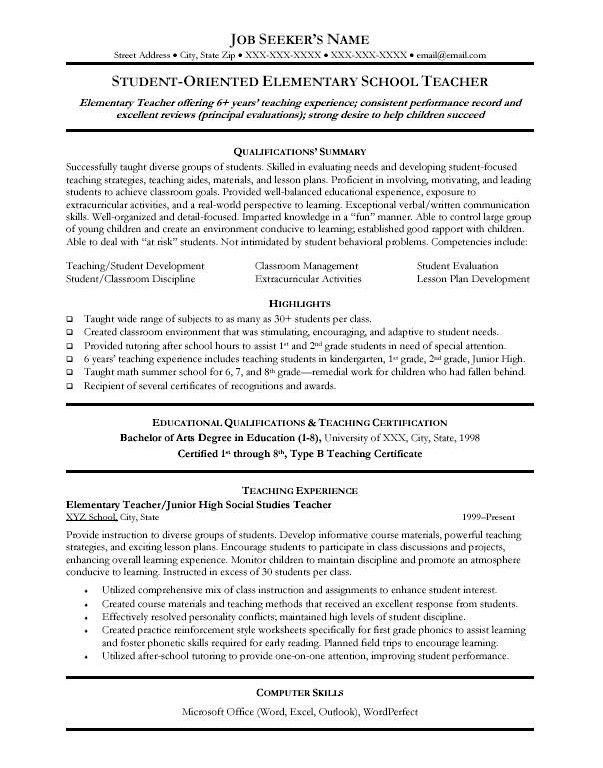 Examples Of Teacher Resumes [Template.billybullock.us ]