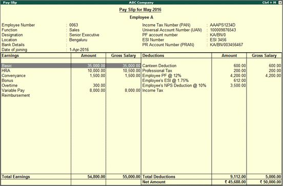 Single Pay Slip (Payroll)