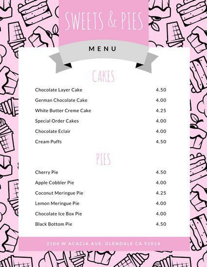 Dessert Menu Templates - Canva