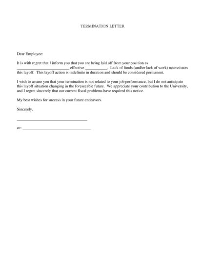 Termination Letter   LegalForms.org