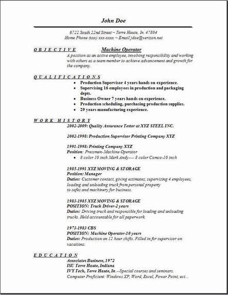 Machine Operator Resume | | ingyenoltoztetosjatekok.com