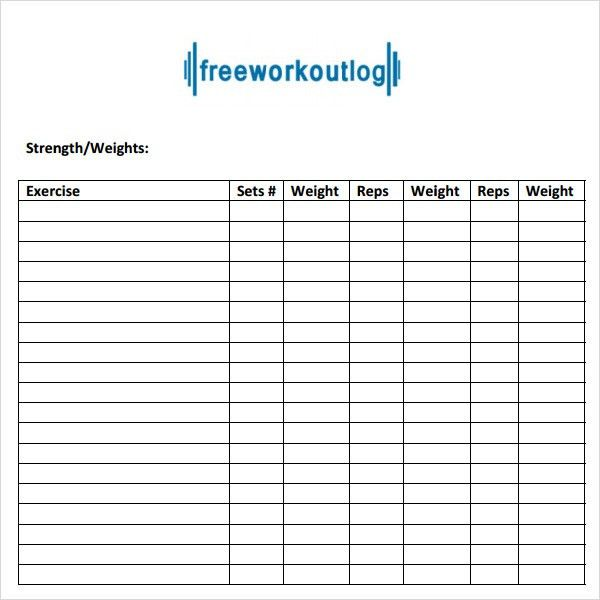 Workout Program Sheet. Total Gym Workout Plan Spreadsheet Blank ...