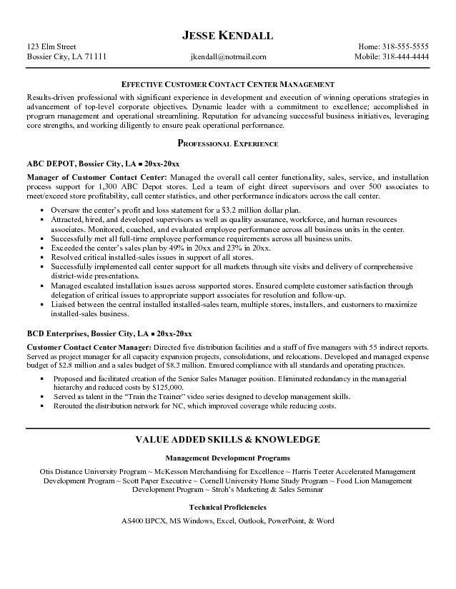 resume samples for customer service manager customer service