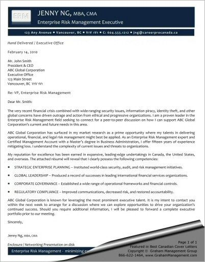 Enterprise Risk Management Executive Cover Letter - Sharon Graham