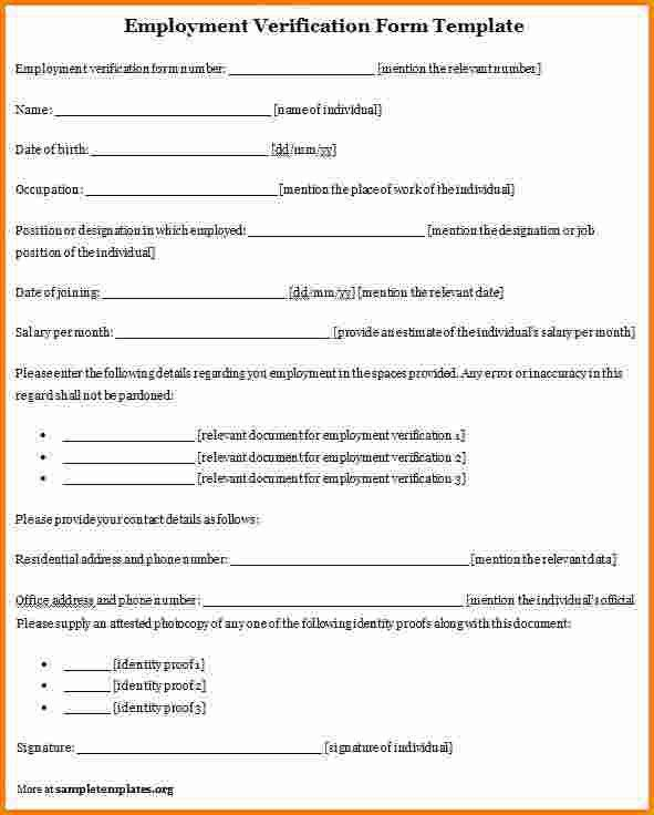 8+ verification of employment form template | memo templates