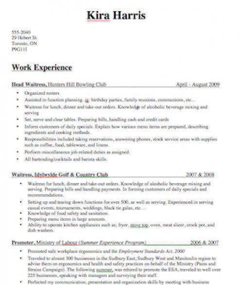 1 bartender resume sample. sample resume bartender 5918 bartending ...