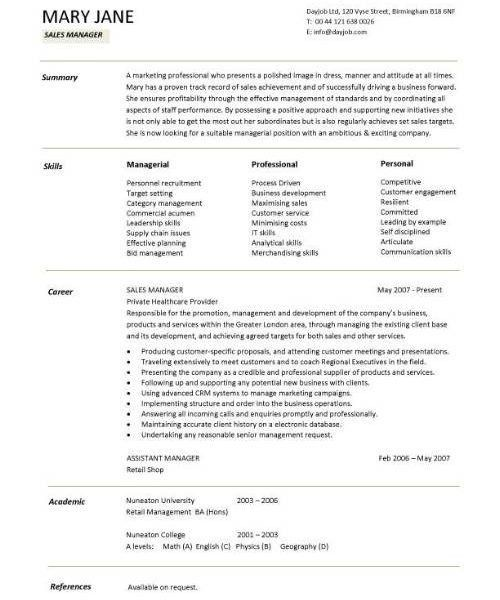Sales Manager Resume Examples Free. retail sales manager resume ...