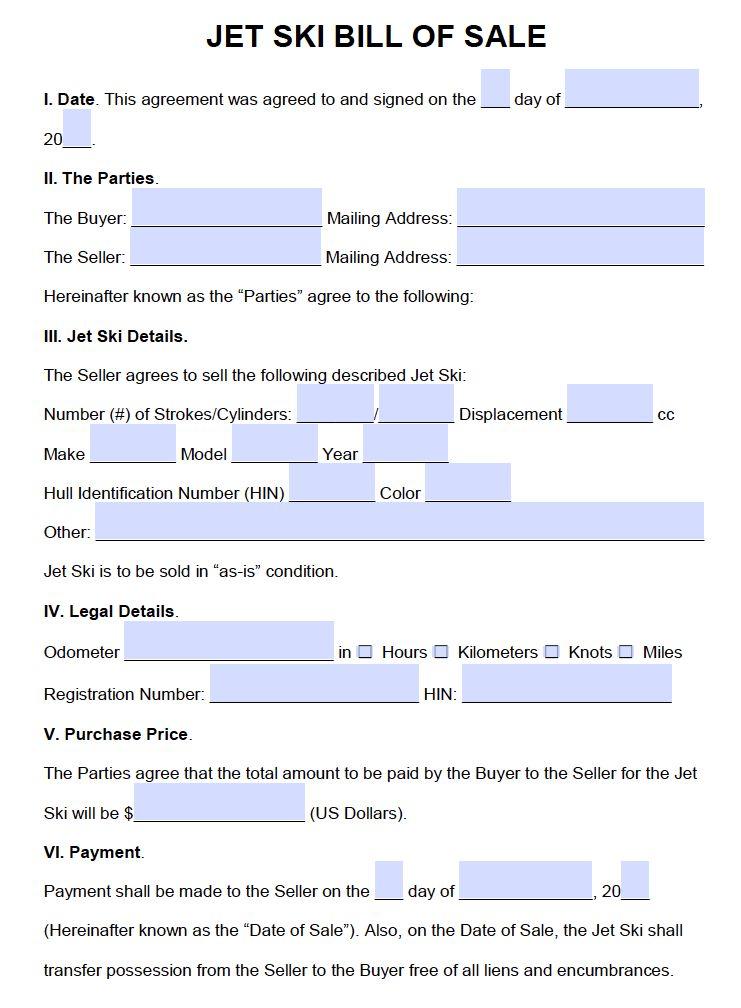 Free Jet Ski Bill of Sale Form | PDF | Word (.doc)