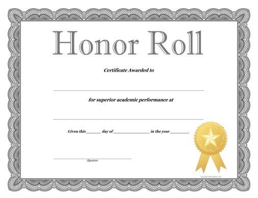 honor roll certificates template free