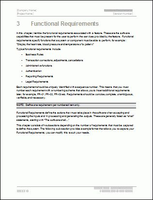 Functional Requirements Specification - MS Word & Excel Template
