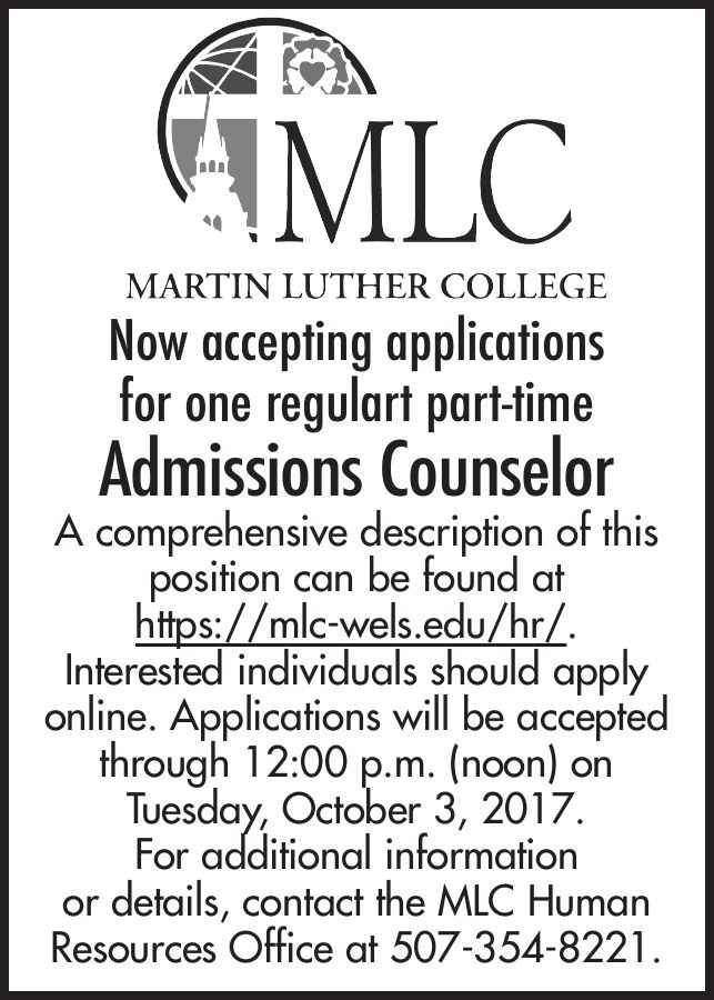 Admissions Counselor job at Martin Luther College   Monster.com