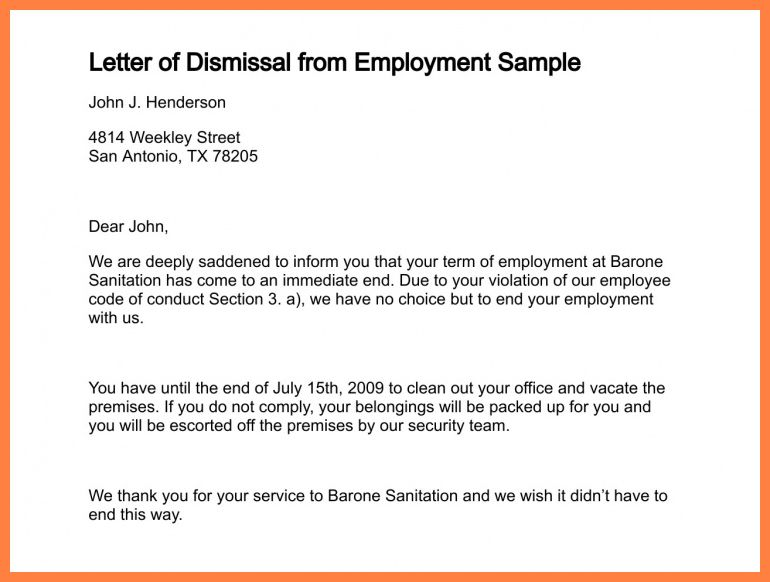 6+ letter of termination of employment | Marital Settlements ...