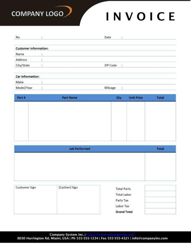 Auto Repair Service or Maintenance Invoice Template Sample ...