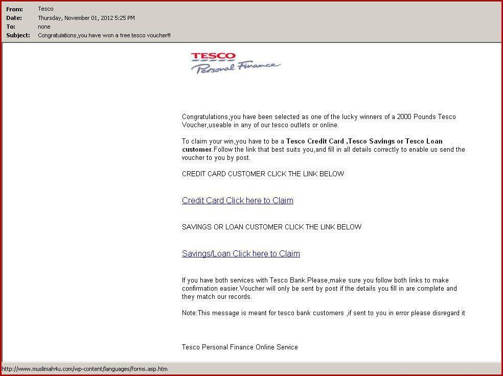 "Congratulations, you won a free Tesco voucher!!!"" Beware of new ..."