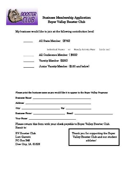 Boyer Valley Community School District - Become a Booster Club Member