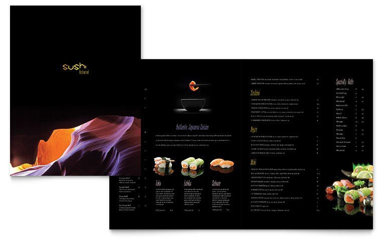 Sushi Restaurant Menu Template - Word & Publisher