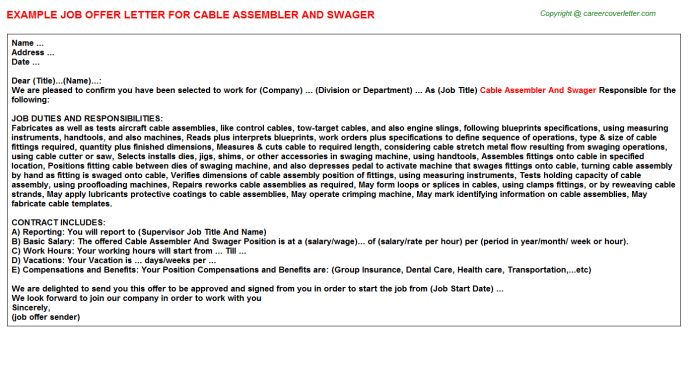 Cable Assembler And Swager Offer Letter