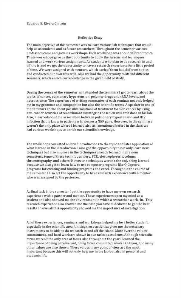 Reflective Essay Examples | Reflective Essay Samples