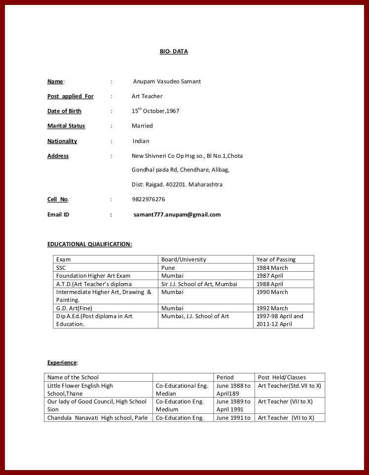 13 Teacher Biodata Format | sendletters.info