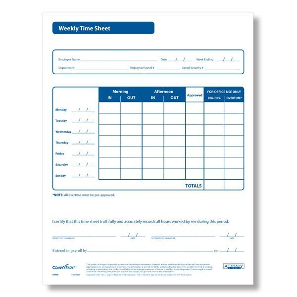 Weekly Employee Time Sheets - Download & Print PDF Format