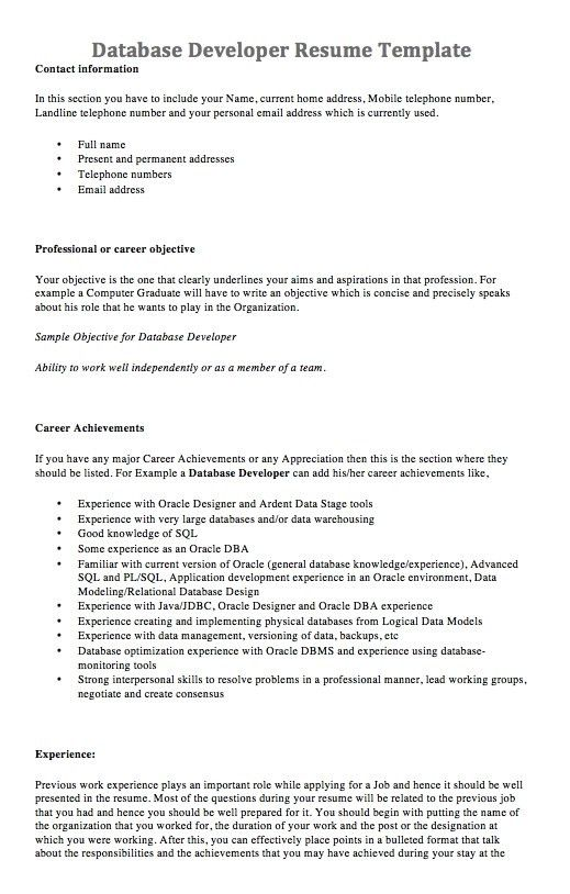 Homely Ideas Database Developer Resume 6 Professional Lead ...