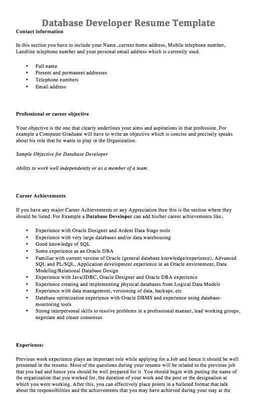 Homely Ideas Database Developer Resume 6 Professional Lead ...