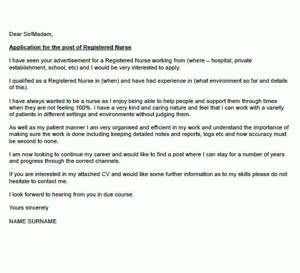 Registered Nurse Cover Letter Example - icover.org.uk