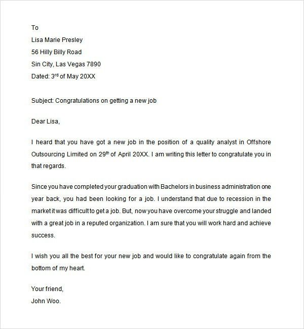 Congratulations Letter. Sample Of Recommendation Letterletter Of ...