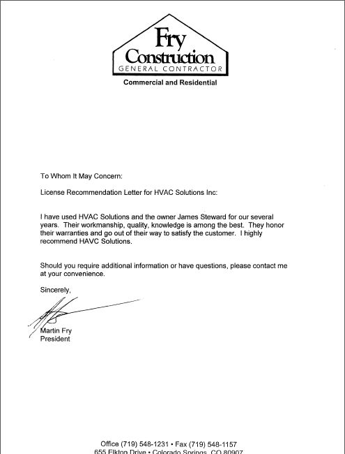 Letters of Recommendation - HVAC Solutions