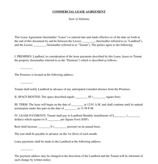 Commercial Lease Agreement - Template - Word & PDF