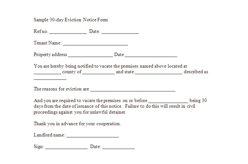 Sample 30-day Eviction Notice Form Template | Sample Eviction Forms