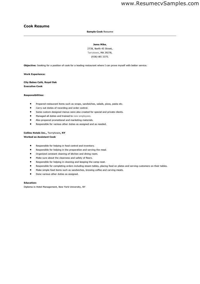 Sample Resume For Cook Prep And Line Samples