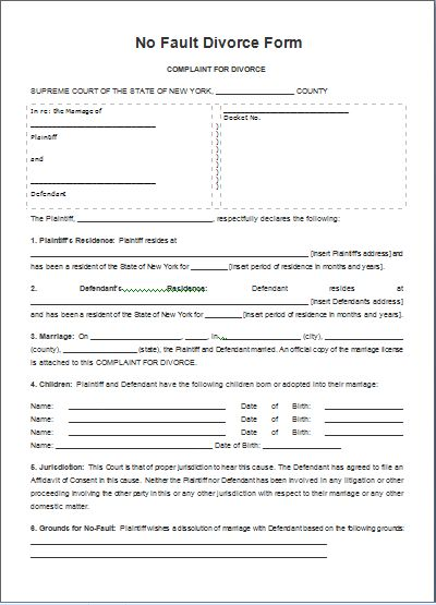 MS Word No Fault Divorce Form Template | Word Document Templates