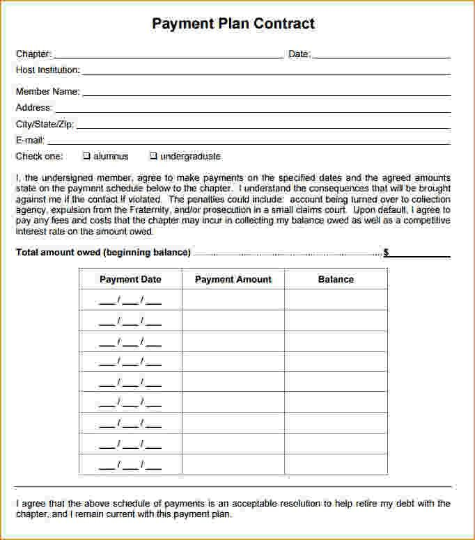 Payment Plan Template. Payment Plan Agreement Template Free Word ...