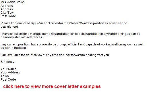 waiter job application letter example? - forums.learnist.org