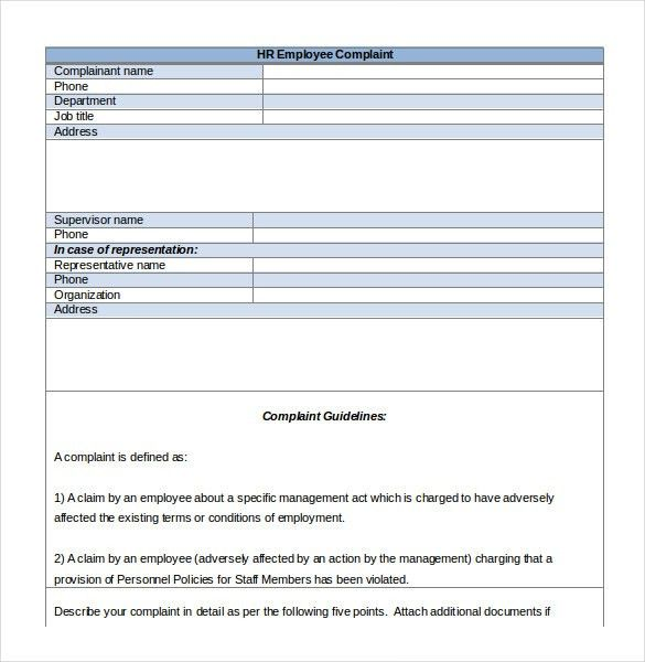 HR Complaint Letter – 10+ Free Word, PDF Documents Download | Free ...
