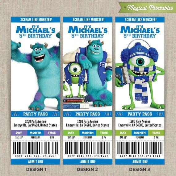 Personalized Disney Monsters University Birthday Ticket Invitation ...