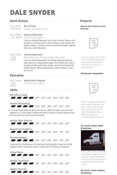 Chauffeur Exemple de CV - Base de données des CV de VisualCV